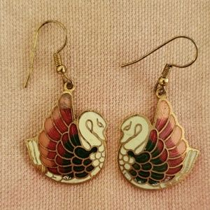 Vintage Swan Earrings (enamel)
